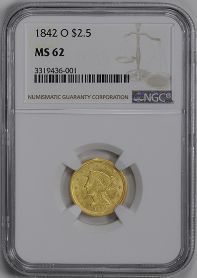 Picture of 1842-O LIBERTY $2 1/2 MS62
