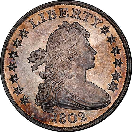 Picture of 1802 DRAPED BUST $1, HERALDIC EAGLE PR65 Cameo