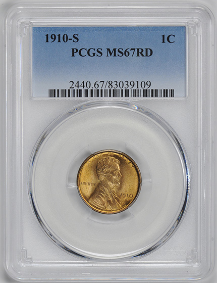 Picture of 1910-S LINCOLN BRONZE 1C, WHEAT REV MS67 Red