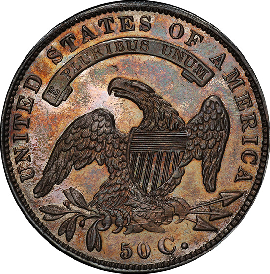 Picture of 1834 CAPPED BUST 50C, CRUSHED LETTERED EDGE PR67 Cameo