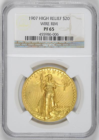 Picture of 1907 ST. GAUDENS HI-RELIEF $20 PR65