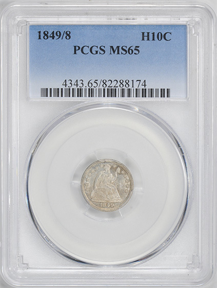 Picture of 1849/8 LIBERTY SEATED H10C, DRAPERY MS65