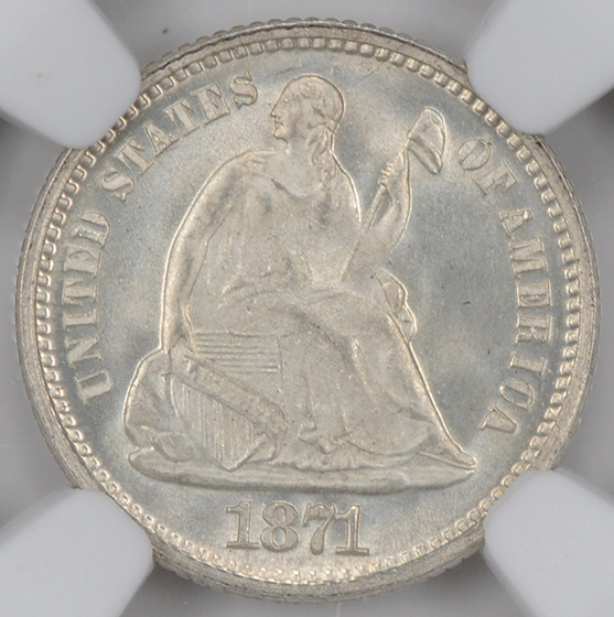 Picture of 1871 LIBERTY SEATED H10C, LEGEND MS68
