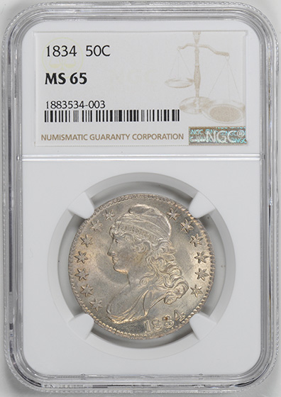 Picture of 1834 CAPPED BUST 50C, LARGE DATE, LARGE LETTERS, LETTERED EDGE MS65
