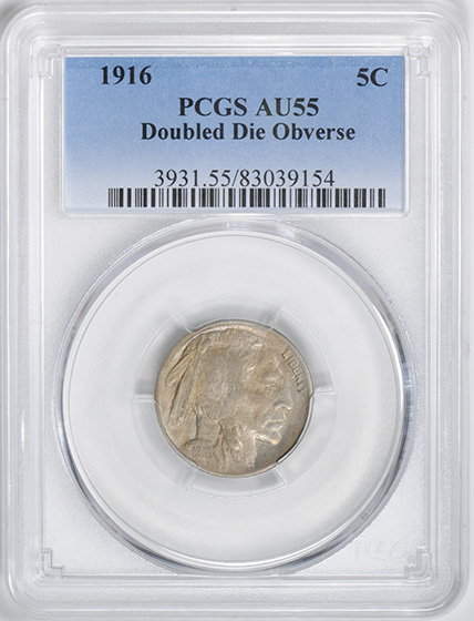Picture of 1916 BUFFALO 5C, DOUBLED DIE OBVERSE MS55