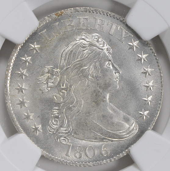 Picture of 1806 DRAPED BUST 25C, LARGE EAGLE MS65