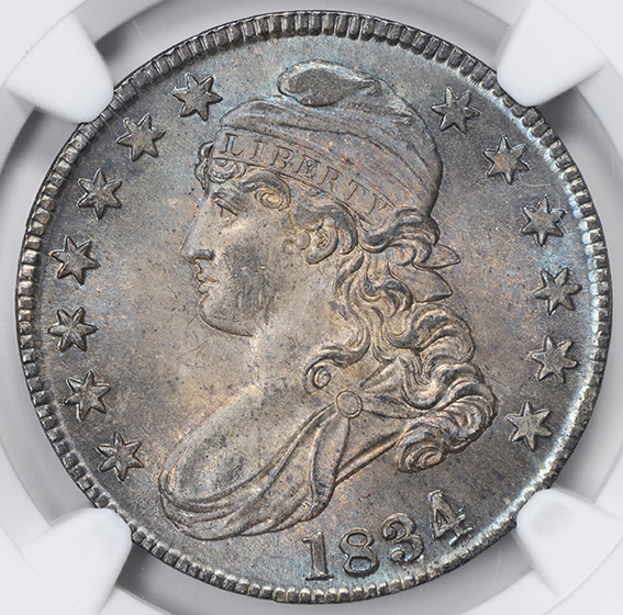 Picture of 1834 CAPPED BUST 50C, LG DATE, SMALL LETTERS, LETTERED EDGE MS66