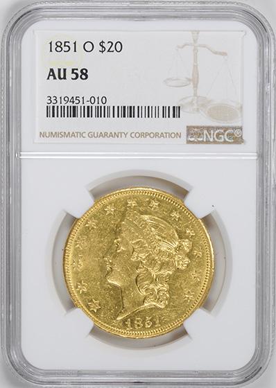 Picture of 1851-O LIBERTY $20, NO MOTTO MS58