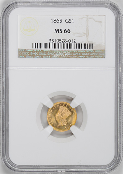 Picture of 1865 GOLD G$1, TYPE 3 MS66