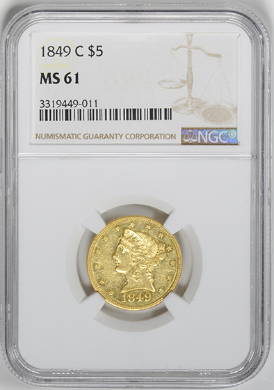Picture of 1849-C LIBERTY $5, NO MOTTO MS61