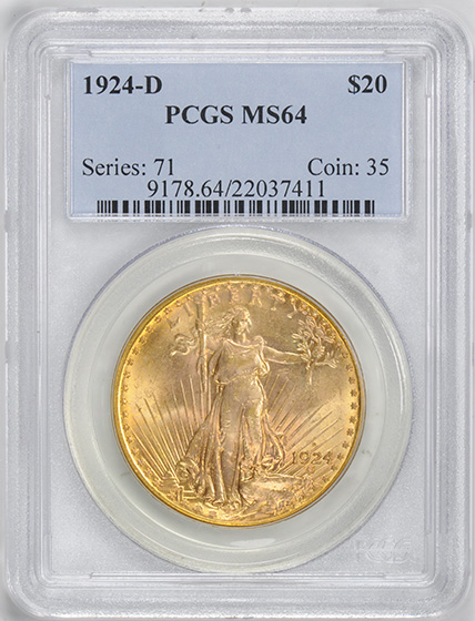 Picture of 1924-D ST. GAUDENS $20, MOTTO MS64