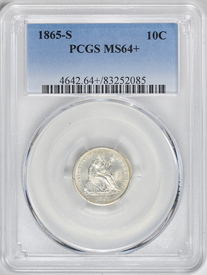 Picture of 1865-S LIBERTY SEATED 10C MS64