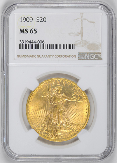 Picture of 1909 ST. GAUDENS $20, MOTTO MS65