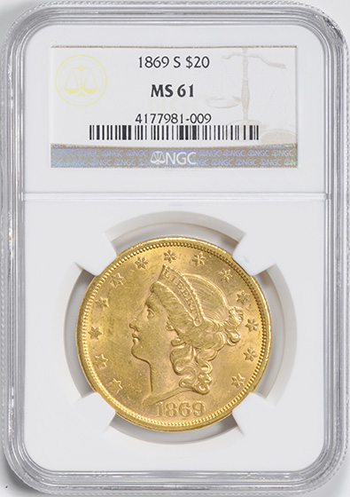 Picture of 1869-S LIBERTY $20 MS61