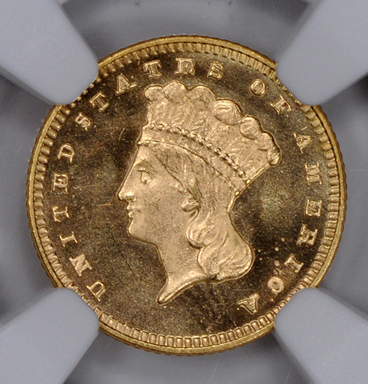 Picture of 1876 GOLD G$1, TYPE 3 MS67