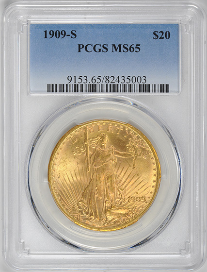 Picture of 1909-S ST. GAUDENS $20, MOTTO MS65