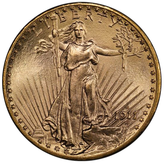Picture of 1911-D/D ST. GAUDENS $20 MS67+