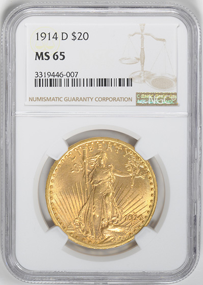 Picture of 1914-D ST. GAUDENS $20, MOTTO MS65