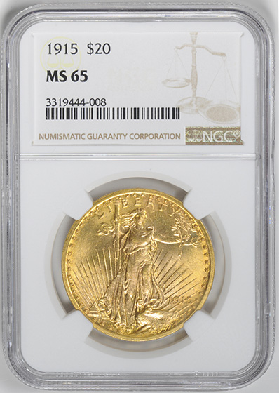 Picture of 1915 ST. GAUDENS $20, MOTTO MS65