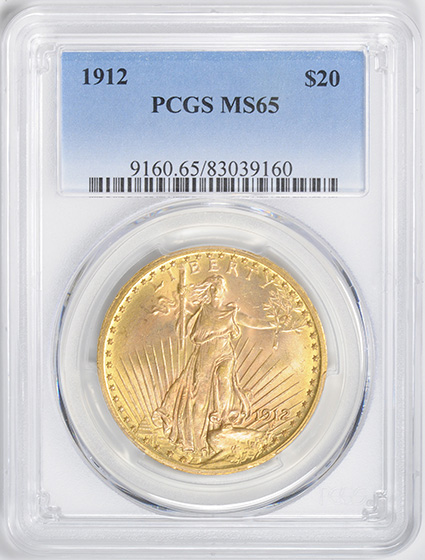 Picture of 1912 ST. GAUDENS $20, MOTTO MS65