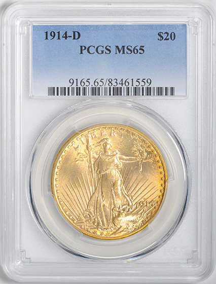 Picture of 1914-D ST. GAUDENS $20 MS65