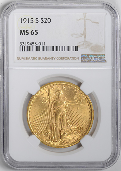 Picture of 1915-S ST. GAUDENS $20 MS65