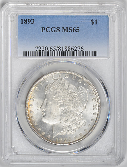 Picture of 1893 MORGAN S$1 MS65