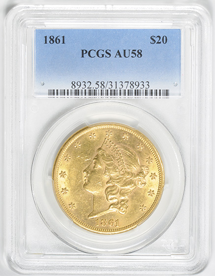 Picture of 1861 LIBERTY HEAD $20 MS58