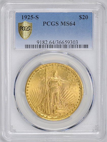 Picture of 1925-S ST. GAUDENS $20 MS64