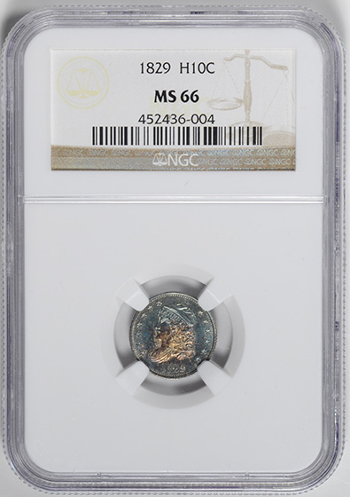 Picture of 1829 CAPPED BUST H10C MS66