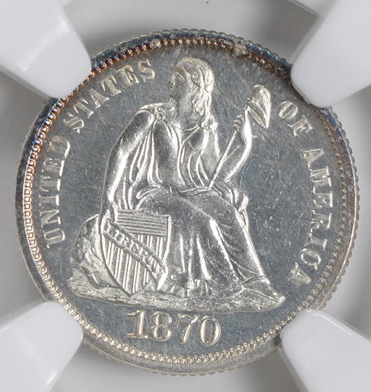 Picture of 1870 LIBERTY SEATED 10C PR66 Cameo