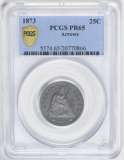 Picture of 1873 LIBERTY SEATED 25C, ARROWS PR65