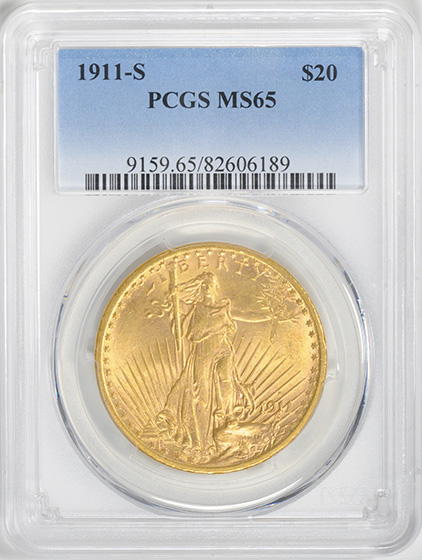 Picture of 1911-S ST. GAUDENS $20, MOTTO MS65