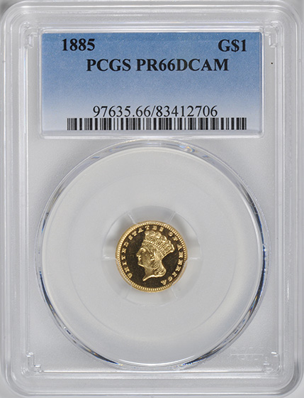 Picture of 1885 GOLD G$1, TYPE 3 PR66 Deep Cameo
