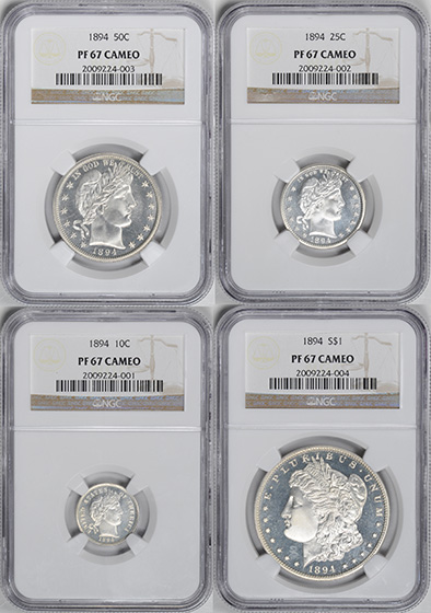 Picture of 1894 PROOF SET, 4-COIN SILVER SET PRRA