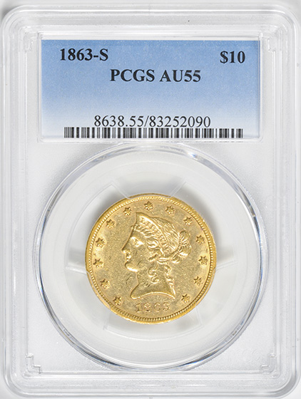 Picture of 1863-S LIBERTY HEAD $10 MS55