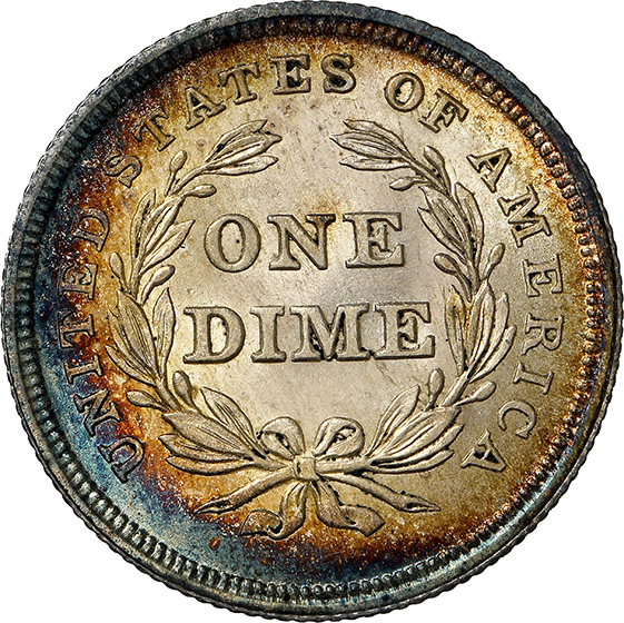 Picture of 1837 LIBERTY SEATED 10C, NO STARS, LARGE DATE MS66+