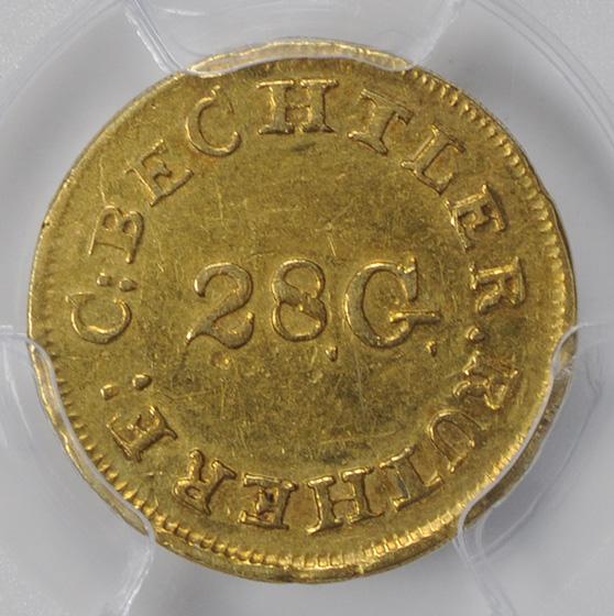 Picture of C BECHTLER $1 RE, 28 GRAIN CENTER AU50