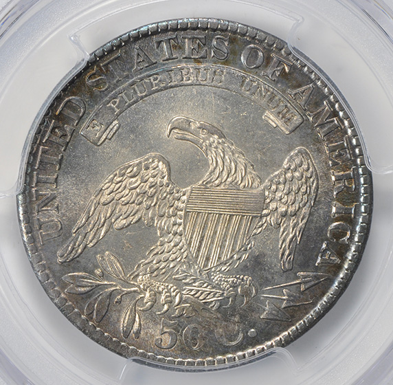 Picture of 1829/7 CAPPED BUST 50C, OVERDATE, LETTERED EDGE MS64