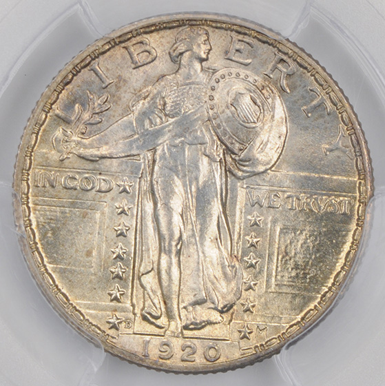 Picture of 1920-D STANDING LIBERTY 25C MS65 Full Head