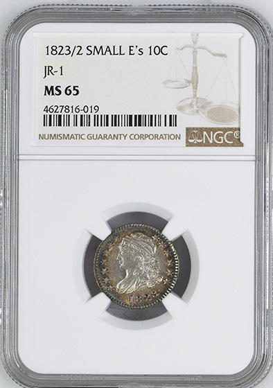 Picture of 1823/2 CAPPED BUST 10C, SMALL E'S, LARGE DENTICLES MS65