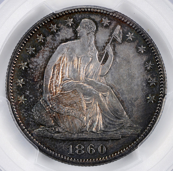 Picture of 1860 LIBERTY SEATED 50C, NO MOTTO PR65