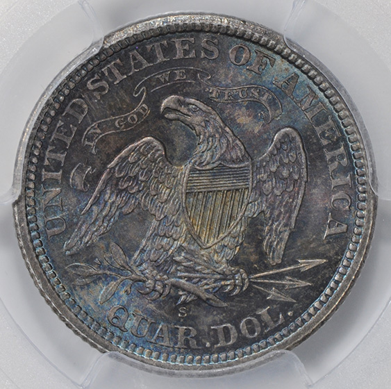 Picture of 1873-S LIBERTY SEATED 25C, ARROWS, MOTTO MS65
