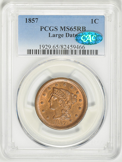 Picture of 1857 BRAIDED HAIR 1C, LARGE DATE RA65 WRB