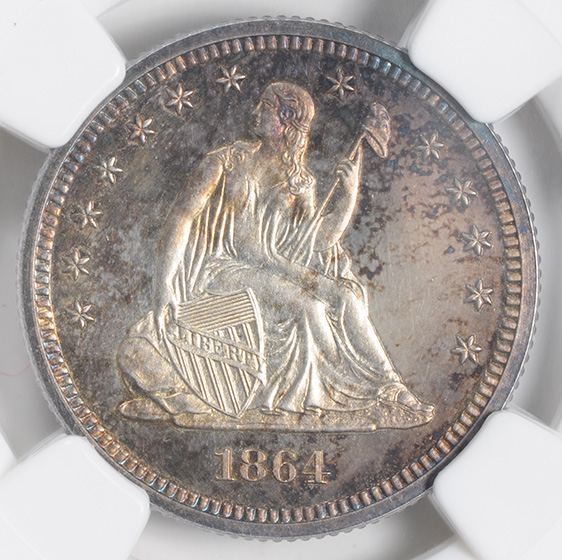 Picture of 1864 LIBERTY SEATED 25C, NO MOTTO PR66 Cameo