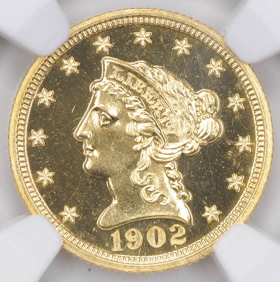 Picture of 1902 LIBERTY HEAD $2.5 PR67+ Cameo