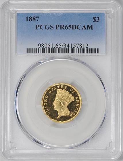 Picture of 1887 INDIAN PRINCESS $3 PR65 Deep Cameo