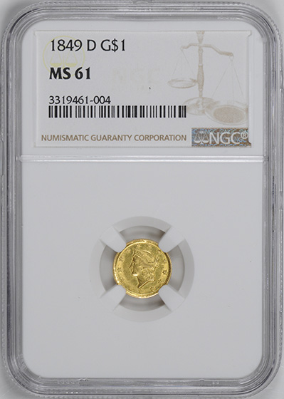Picture of 1849-D GOLD G$1, TYPE 1 MS61