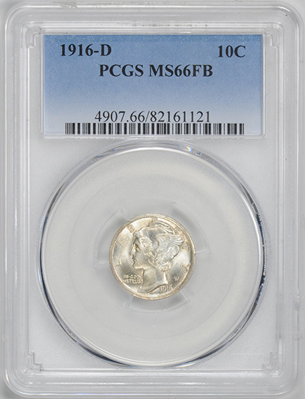Picture of 1916-D MERCURY 10C MS66 Full Bands