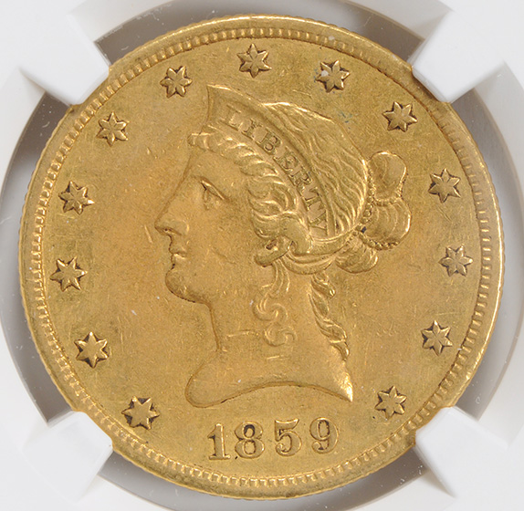 Picture of 1859-S LIBERTY $10, NO MOTTO AU50